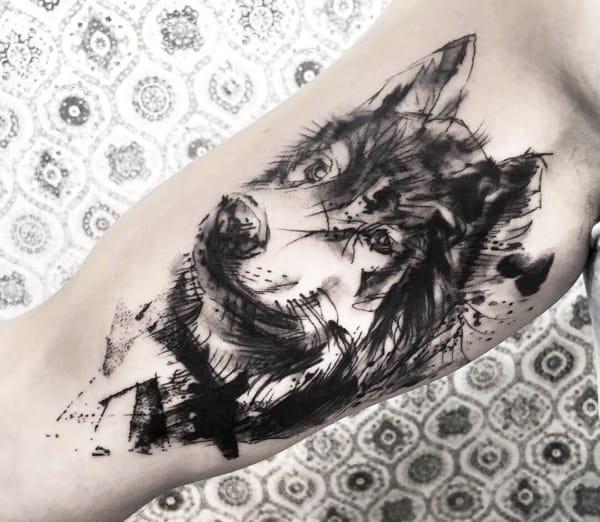 tatuagem sketch lobo