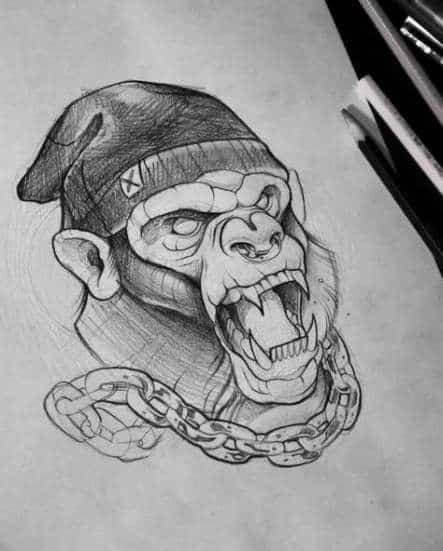 tatuagem sketch macaco
