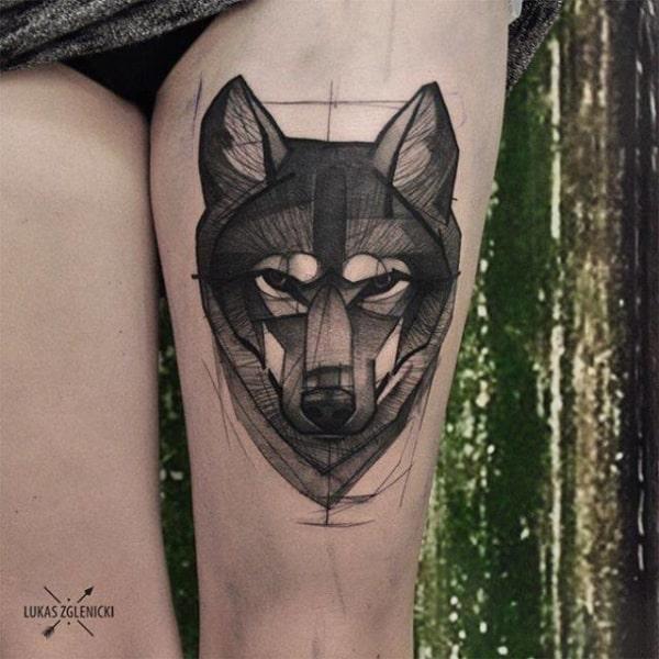 tatuagem sketch na coxa