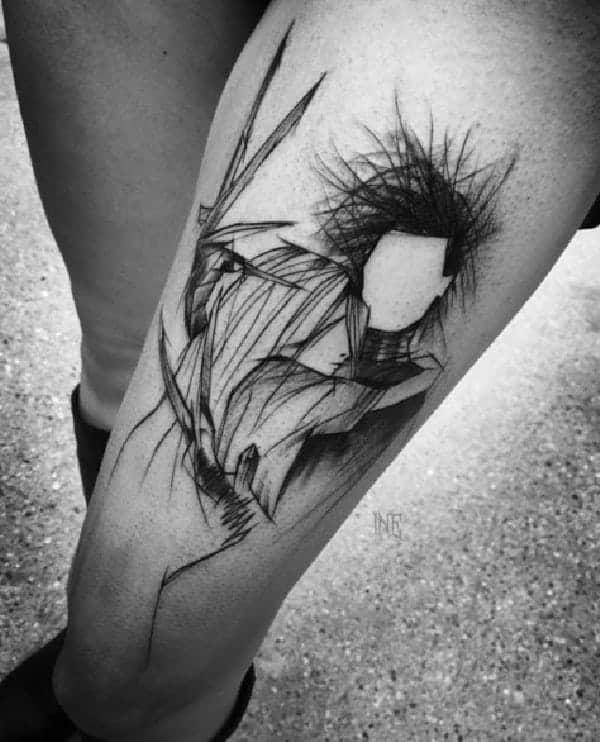 tatuagem sketch na perna