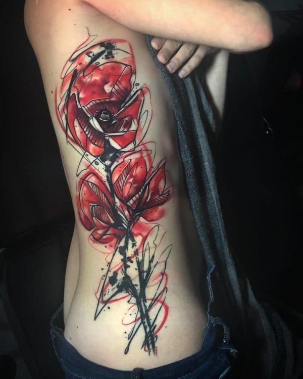 tatuagem sketch rosa