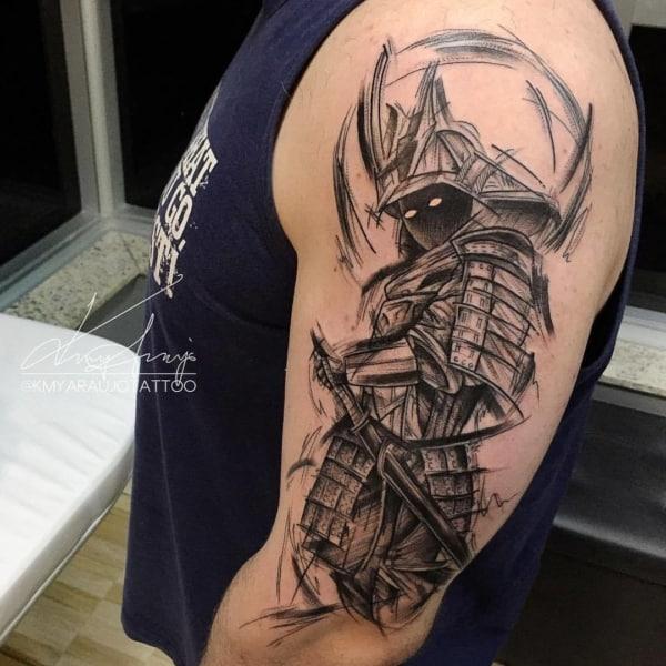 tatuagem sketch samurai