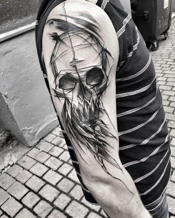 tatuagem sketch skull
