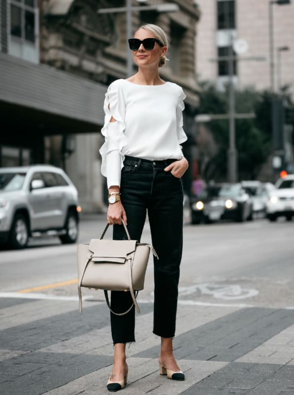 look elegante com calça mom jeans preta