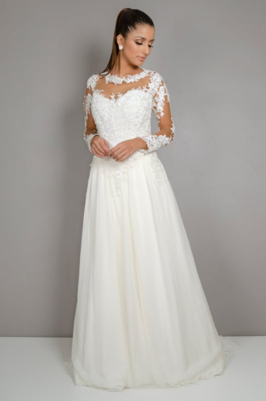 vestido de noiva com saia em musseline de seda