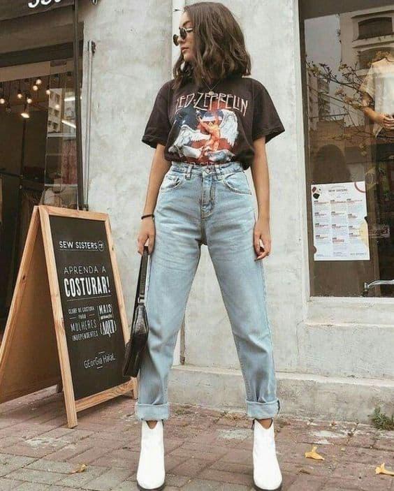 look com calça vintage mom jeans e botinha