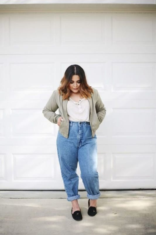 look com calça mom jeans plus size