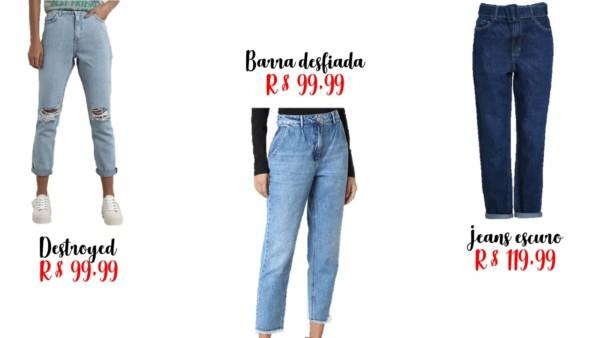 modelos e preços de calças mom jeans