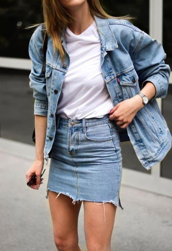combinação com jaqueta jeans feminina com saia 10