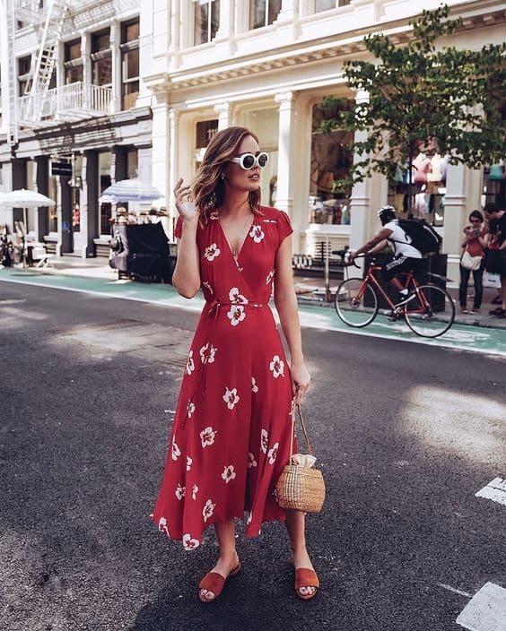 look com vestido vermelhofloral 21