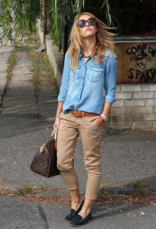 como usar calça cáqui com camisa jeans