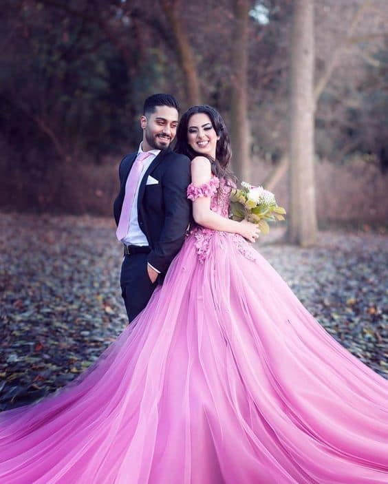 vestido de noiva pink com saia de tule