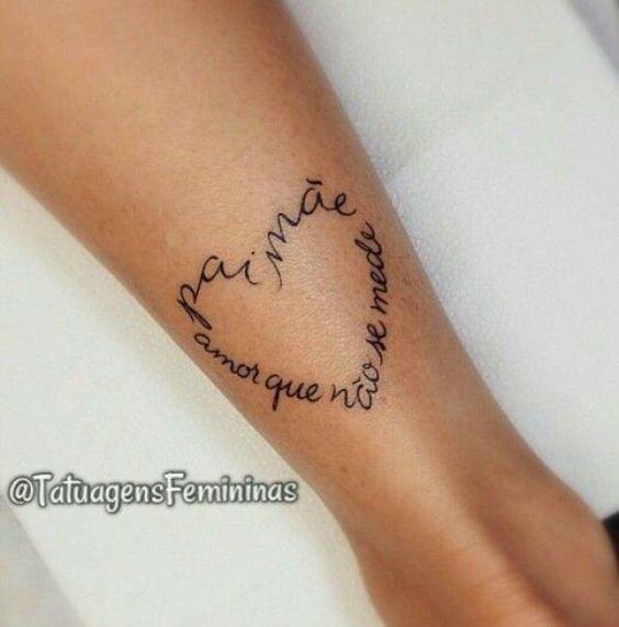 coração com frase para tatuagem de pai e mãe