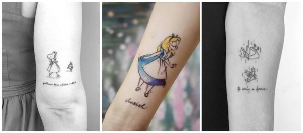 tatuagem delicada Alice no País das Maravilhas