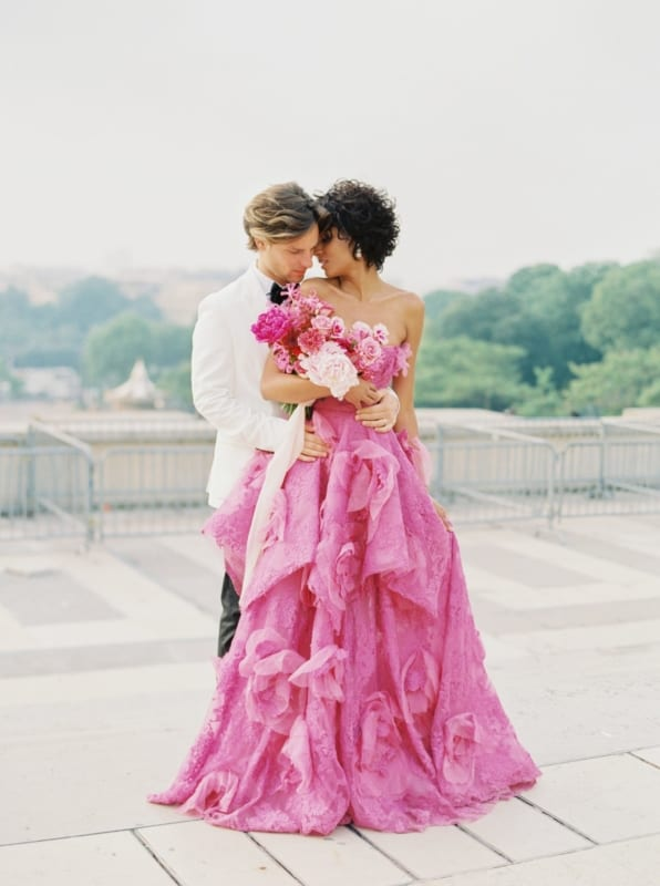 vestido de noiva sem alça pink