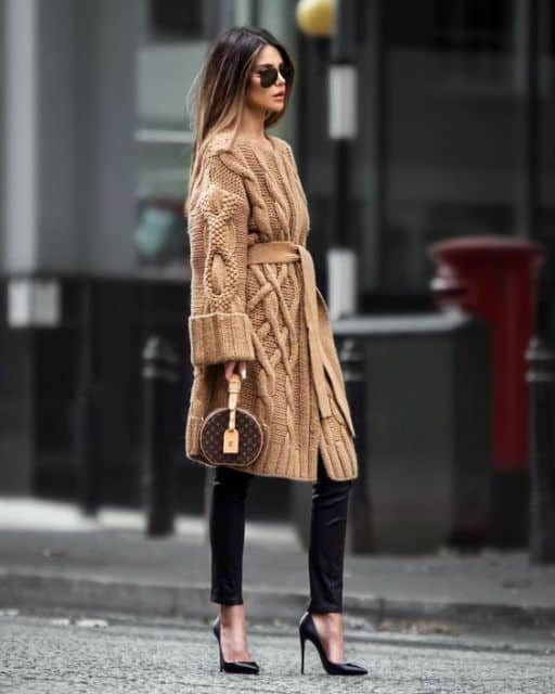 look com casaco de lã na cor cáqui