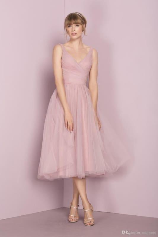 vestido de noiva midi com saia de tule rosa