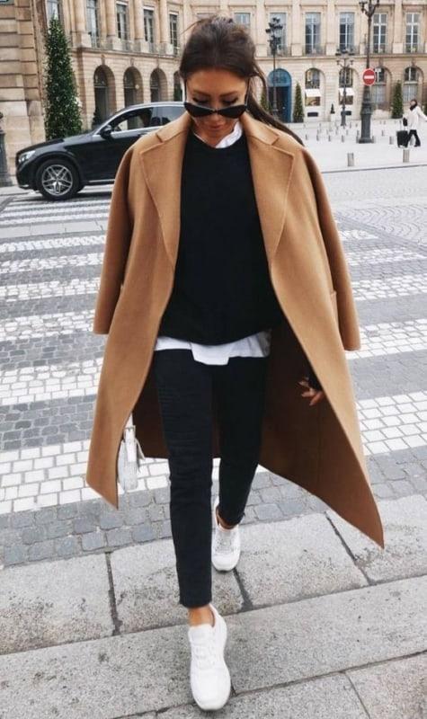 look com casaco de inverno na cor cáqui