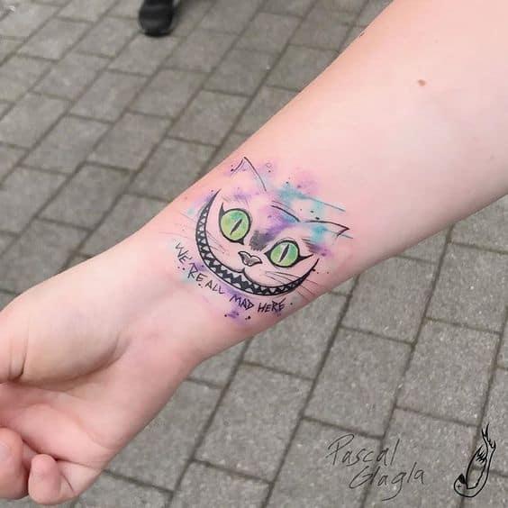 tatuagem Cheshire em aquerela