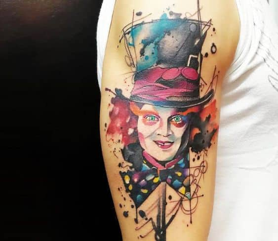 tatuagem chapeleiro maluco Alice no País das Maravilhas
