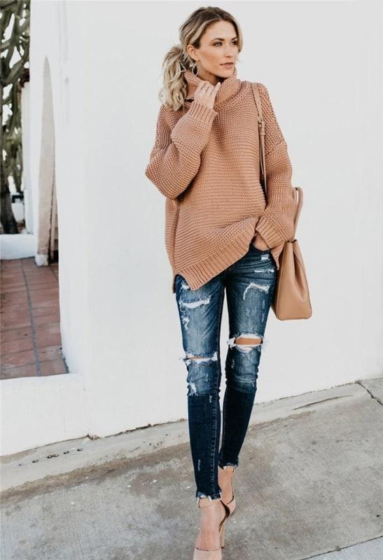 look com blusão de frio e jeans
