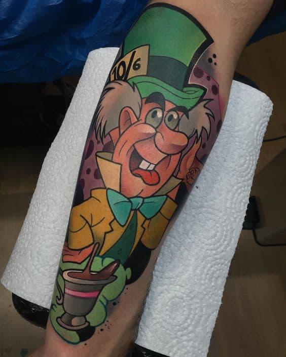 tattoo grande Chapeleiro Maluco de Alice no País das Maravilhas