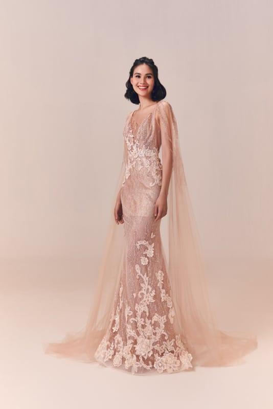 vestido de noiva rosa antigo com renda
