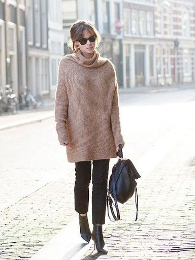 look de inverno com blusa cáqui