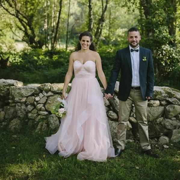 vestido de noiva rosa claro sem alças