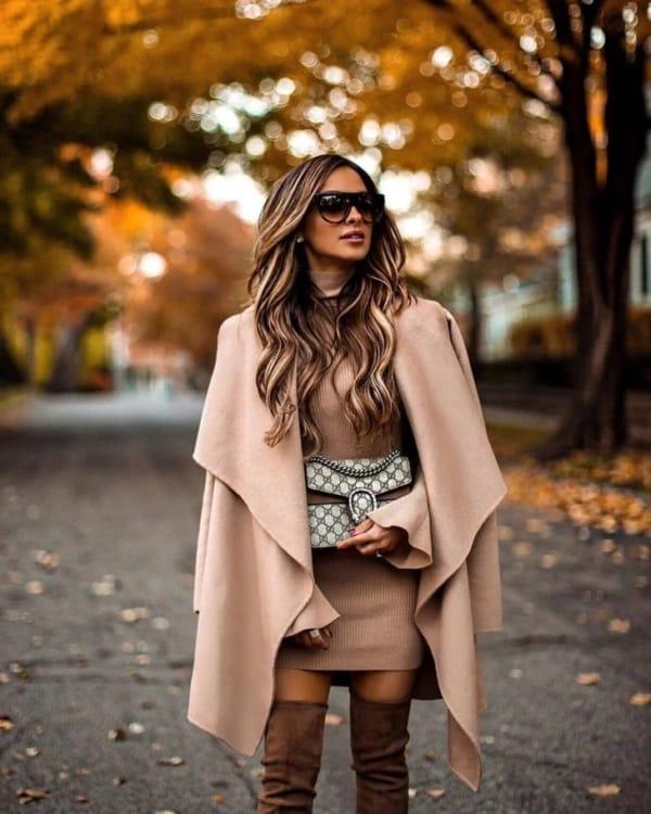 look de inverno com vestido na cor cáqui