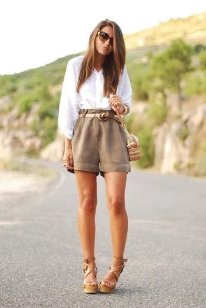 look com short feminino cáqui de cintura alta