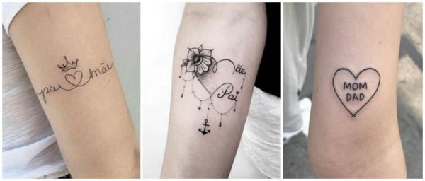 tatuagens pai e mãe no braço