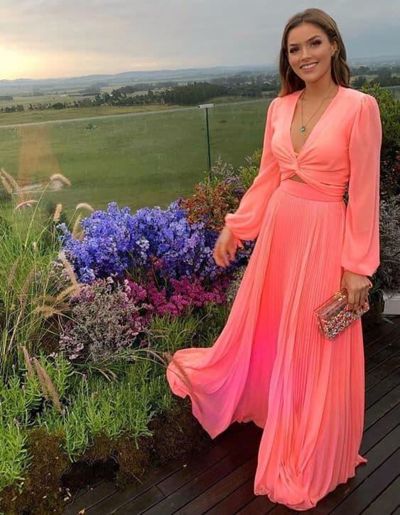 vestido de madrinha de casamento rosa com manga longa