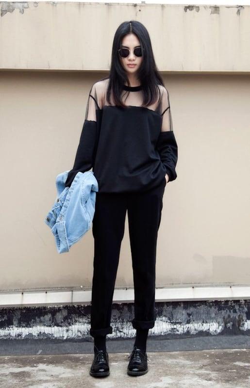 look gotico feminino com calca