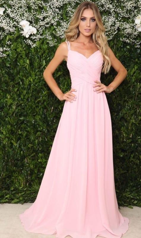 vestido simples rosa para madrinha de casamento