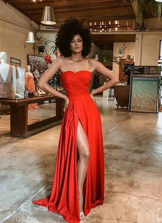 vestido vermelho longo tomara que caia para madrinha de casamento