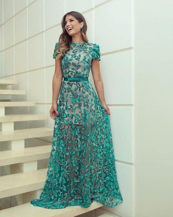 vestido turquesa para madrinha de casamento com manga curta