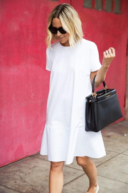 look com vestido branco basico e soltinho