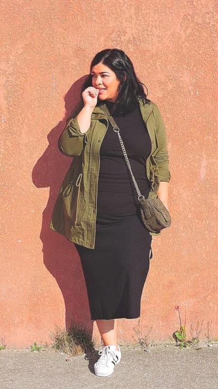 look com vestido midi preto plus size