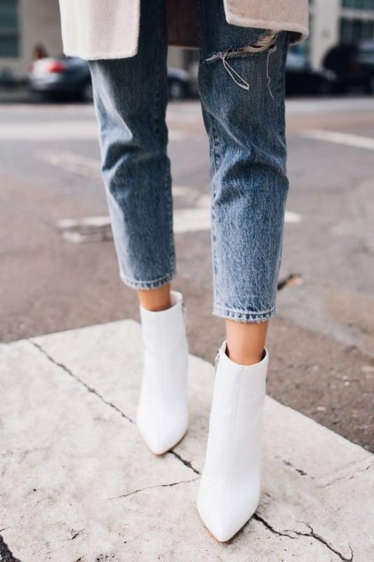 bota branca de cano curto