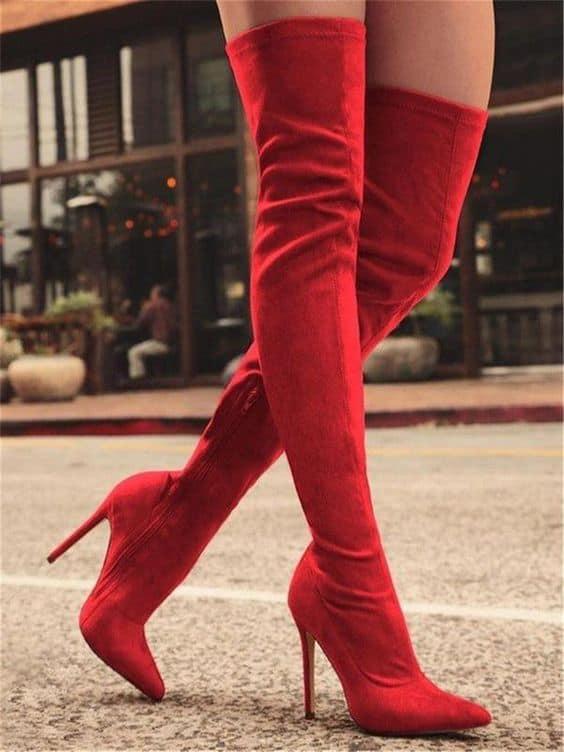 bota over the knee vermelha