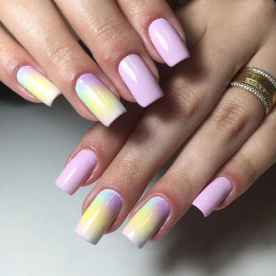 unhas quadradas com nail art pastel tie dye