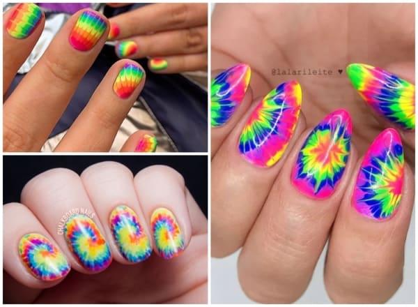 ideias de unhas tie dye com cores vibrantes