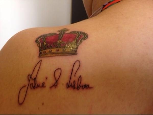 tatuagem grande com nome do pai