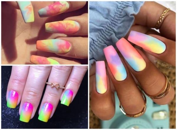 ideias de unhas longas com tie dye