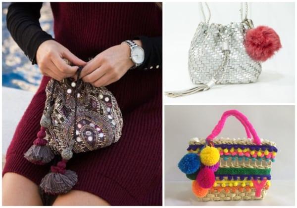 As bolsas com pompom podem ser de diversos materiais
