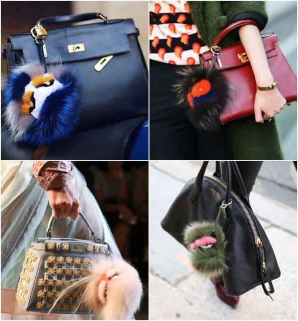 Quatro bolsas estilosas com pompons