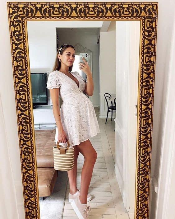 moda gestante com vestido branco