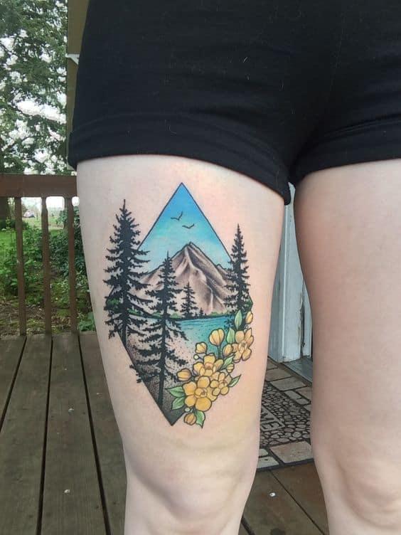 tatuagem feminina colorida de natureza