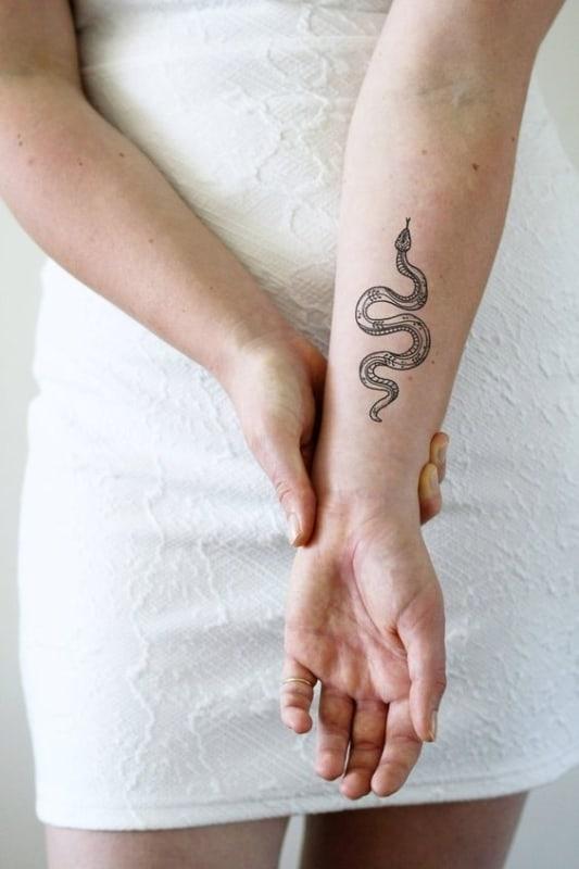 tatuagem de cobra no braco